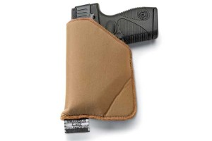 There are no belt clips or traditional retention straps securing the new Blackhawk TecGrip holster to your body. Rather, the high-friction characteristic of the holster's surface material is the secret. It can be used as a pocket holster or worn as an inside the waistband (IWB) holster. $19