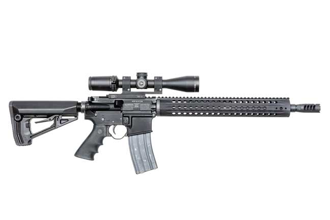 The Rock River LAR-458 is built on AR-15-pattern upper and lower receivers.