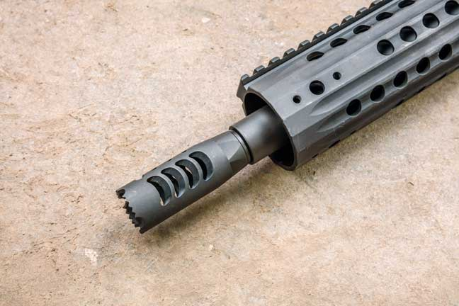 The Rock River muzzlebrake is more effective than the CMMG brake, but it does direct some of the concussive muzzle blast back onto the shooter.