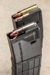The .458 SOCOM loads into a standard double-stack 5.56 NATO 30-round mag, but it only holds nine rounds of .458. SOCOM.