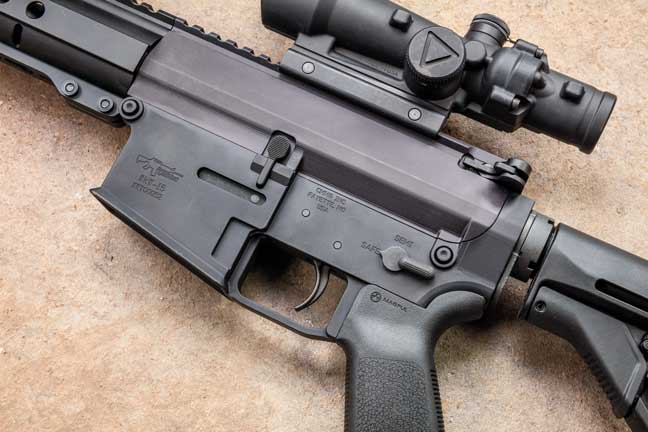 The CMMG receivers are machined from billet aluminum to account for the AR-15-sized magazine well in an AR-10-sized lower.