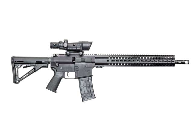 The CMMG MkW Anvil has AR-10-pattern upper and lower receivers, but the magazine well accepts AR-15 magazines.