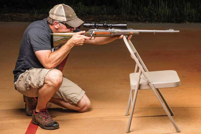 A chair allows the shooter to build a position at a couple of different elevations. This forces us to work on getting stable, which should be the goal of any range session (not shooting groups).