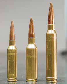 From left to right: .260 Remington, 7mm SAUM, .300 Winchester Magnum. The 7mm SAUM offers arguably better performance than the .300 Win. Mag. in a package almost as small as the .260 Rem.