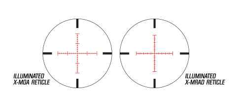 The X1000's reticle and adjustments are graduated in mils. A milliradian (MRAD) as nominally 1/6400 or a circle, which translates to about 3.6 inches at 100 yards.