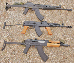 "Although adopted by the Soviet army in 1974, the 5.45x39mm cartridge never proved as popular as the older 7.62x39mm. Here are a few Kalashnikovs chambered for the newer round, top to bottom: Polish Tantal AK74 (known in Poland as the wzor-88), Russian AK105 selective-fire version three-shot-burst mode and Bulgarian ""Krinkov"" (a complete misnomer) with 8.5-inch barrel."