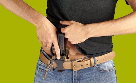 The SSV holster features a plastic IWB J-hook belt clip for 1½-inch belts. A cord serves as a belt-loop lanyard.