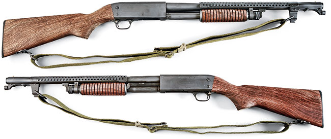 The Parkerized Inland/Ithaca Model 37 Trench gun (above) is a ringer for the variant of the 12-gauge pump used in the Vietnam War (below).