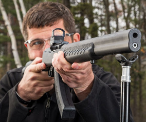 The Silent-SR Takedown provides shooters with classic aesthetics akin to an over-under shotgun. When fired, that similarity is forgotten as the loudest noise coming from the 10/22 is the sound of its action.