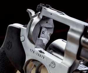 Ruger designed the GP100 to have a solid, one-piece frame. There is no sideplate; the trigger mechanism is a separate assembly that slides in from underneath.