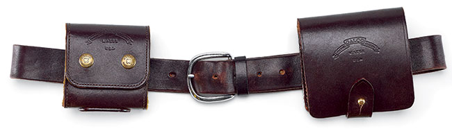 Worn on Galco's Field Grade Seven Hole Sport Belt ($37) are two worthy solutions for carrying ammunition on any hunt. Galco's Stalker wallet (left) holds 10 rifle cartridges individually. The Stalker is available in three sizes: Short (.22-250 Rem., .243 Win., .308 Win. and .30-30 Win.); Standard (.270 Win., .280 Rem. and .30-'06 Springfield); Long (7mm Rem. Mag., .300 Wby. Mag. .300 Win. Mag. and .375 H&H) $99. Galco's Safari Five (right) holds five cartridges, including .338 Win., .340 Wby., .375 H&H, .416 Rigby and .458 Win. Mag. $80