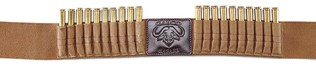 Designed for hunting and culling in Africa and Australia, Galco's Field Grade Culling Belt carries 20 big-bore rifle cartridges from .375 H&H to .500 NE. $105