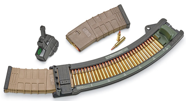 With a single stroke, the new Range BenchLoader will shove 30 rounds of 5.56 NATO or .223 Rem. cartridges into any STANAG 4179 (AR-type) magazine without inserts or adjustments. $133