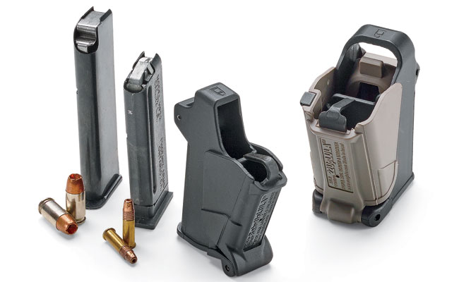 The Baby UpLula will load single-stack magazines without a projecting side pin for cartridges between .22 and .380. The 22UpLula is a new .22LR double-stack loader for wide-body pistol mags. $39
