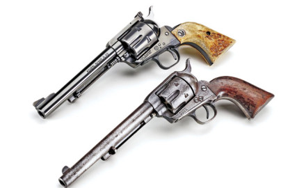 Many firearm historians argue that Bill Ruger perfected the Colt SAA with his Blackhawk and Super Blackhawk. This example wears its original factory- installed stag grips.