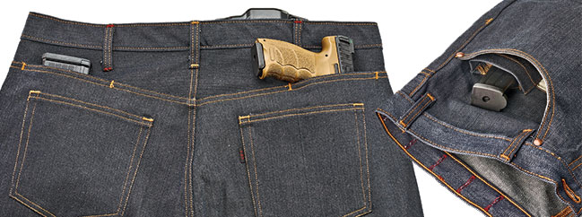 Two slot pockets are located above each rear pocket and handle expediant carry circumstances. These pockets could also conceal documents or spare magazines. Internal pouches located within each front pocket keep magazines and other items upright and intuitively accessible.