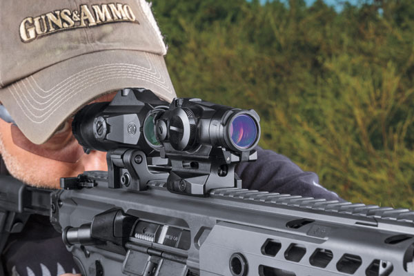 Used in combination, a shooter can take SIG Sauer's new Romeo4T red dot sight from the muzzle out to 200 yards, and then add the Juliet4 magnifier to gain an additional few hundred yards of range.