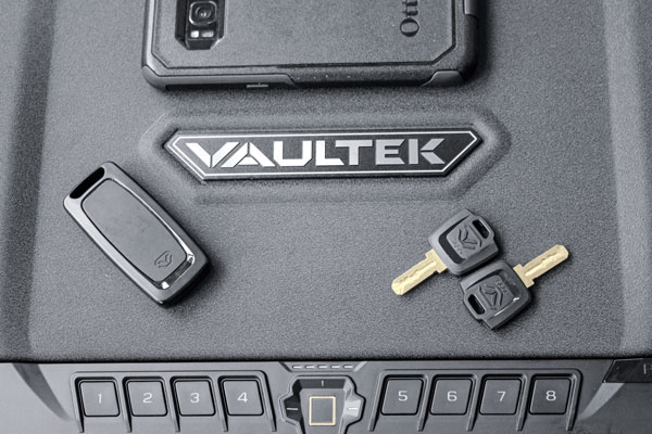 Vaultek's PRO VTi can be accessed five different ways: via key, smart key, digital keypad, biometric, or your smart phone, to make it simple for you to get to your guns.