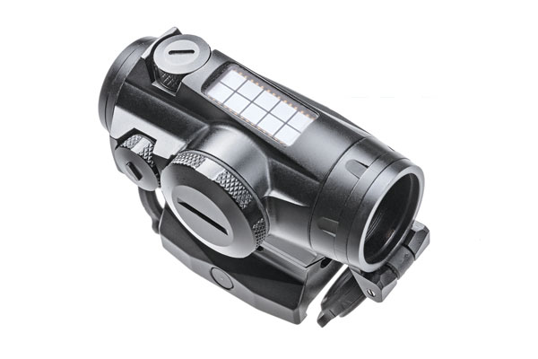 "The 4T stands out from other red dots by combining extreme durability with exceptionally long battery life. A small solar panel on top of the 4T powers the reticle on sunny days. Between the CR2032 battery that powers the optic and the solar panel up top, the 4T has in excess of 100,000 hours of ""battery life"" between changes"