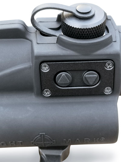 The Wolverine features 10 brightness settings that are easily adjusted by dot intensity controls located on the left side of the Wolverine's body. Sightmark claims 50,000 hours of battery life at setting 6 and a million hours on low power.
