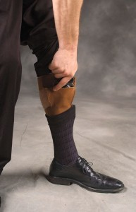 Calf holsters carry higher on the leg, as this older-model Bianchi holster illustrates. The revolver is the author's Model 36 Chief's Special with Berami Hip Grips, Tyler T-Grips and bobbed.