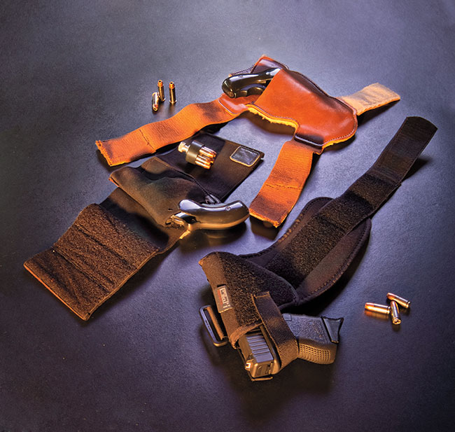 The author's partial collection of ankle holsters, collected over a 30-year police career. Padding between the holster body and the ankle is an absolute requirement.