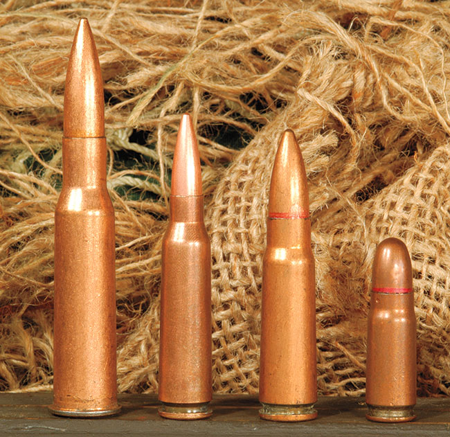 What sets apart the Type 95 from other bullpups is the unique 5.8x42mm cartridge it chambers. This replaces both the 7.62x54R and 7.62x39mm. Left to right: 7.62x54R, 5.8x42mm, 7.62x39mm, 7.62x25mm.
