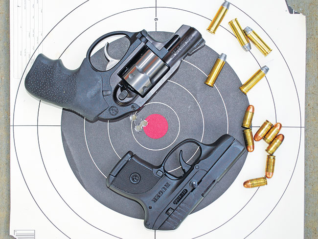 The LCR compared with its Ruger counterpart, the LCP (Lightweight Compact Pistol) in .380. The LCP is obviously smaller and more concealable, but it's also more difficult to shoot well and the LCR's .38 Special cartridge is more capable.