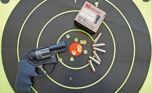 The 110-grain Hornady Critical Defense FTX load averaged just over 900 fps. It offered the most desirable results while testing the LCR for home defense. The FTX bullet produces rapid expansion and limited penetration.