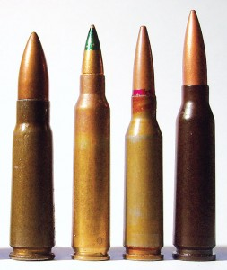 The four contemporary assault-rifle calibers of the world (from left): 7.62x39mm, 5.56x45mm, 5.45x39mm and 5.8x42mm. Photo by Anthony G. Williams.