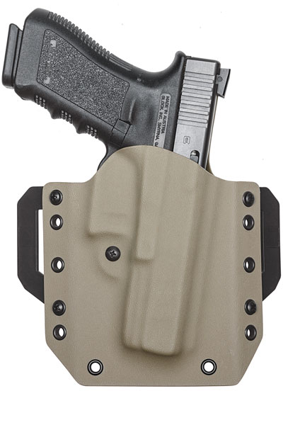 The LightDraw Kydex OWB holster was easily ordered online at vedderholsters.com. Color and pattern options are available for an upcharge, including licensed patterns from Kryptek, Mossy Oak and Realtree. However, there is no additional charge for black. $66