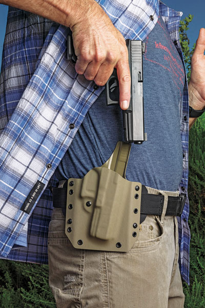 Vedder's Cobra Quick-Release Gun Belt eliminates the need for users to adjust the length of the belt each time it's put on. The belt is very stiff, which is necessary for carrying the weight of a full-size, loaded pistol. $60