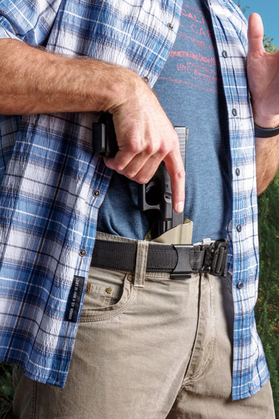 Vedder's Cobra® Quick-Release Gun Belt eliminates the need for users to adjust the length of the belt each time it's put on. The belt is very stiff, which is necessary for carrying the weight of a loaded pistol. $60