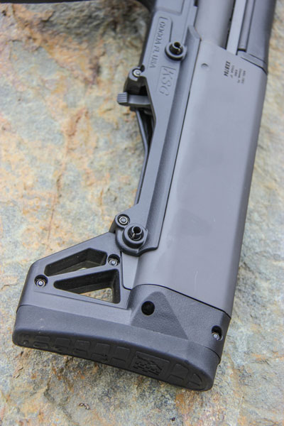 The KSG 25 weight (over 11½ pounds when fully loaded) coupled with a stout recoil pad help tame recoil.