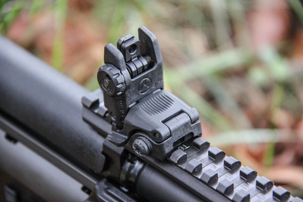 Kel-Tec added top rails to allow for mounting AR-style optics, and there's also a rail on the forearm for mounting vertical grips and the like.