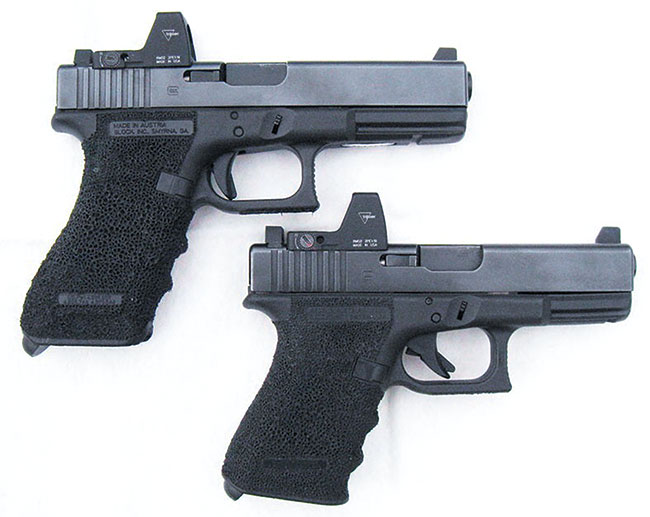 Two modified Glocks, featuring the RMR with backup iron sights installed. Photo courtesy Doc Roberts