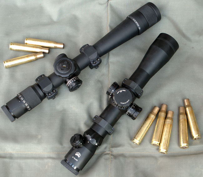 "Sometimes you have to ""go big."" The US Optics SN3 (left) and IOR Valdada Ultra Long Range use 35 and 40mm main tubes, respectively, for durability and elevation."