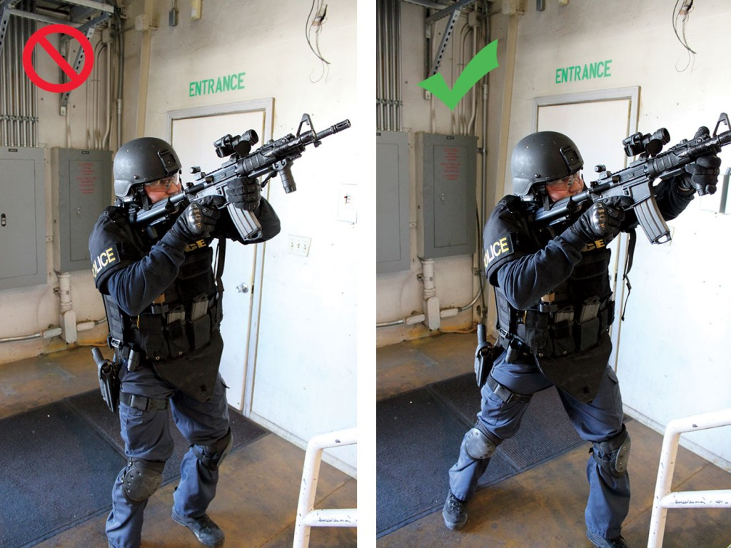 Left: Approaching a stairwell, this shooting stance doesn't have the power to fight or move. Right: In this aggressive shooting stance, the officer is ready to fight and move.