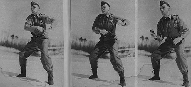 U.S. Marine Lt. Col. Jeff Cooper studied the art of the draw as these series of photographs illustrate. Three sequence photos were taken in 1/250th of a second and published in Guns & Ammo's first issue.
