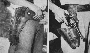 "Holster on the left is used rarely and necessitates use of the ""twist"" draw. Although this method may seem clumsy, it actually works well in competition. The ""clamshell"" holster (right) also has a fine record."