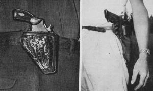 The tiny Berns Martin holster (left) is probably the fastest of all carrying systems. It is very secure and unaffected by barrel length. The photo to the right shows a spring-secured, cross draw belt holster. It is vary fast and also practical.
