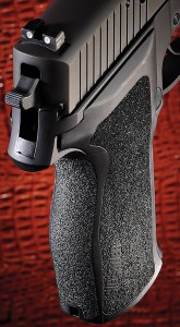 Sig Sauer has redesigned the frame and grip of the P226, resulting in a more ergonomic grip with a much smaller circumference. Not only are the controls easy to reach, the pistol handles and points particularly well.