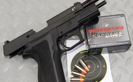 The new Sig P226 E2 is partnered ideally with Winchester's 9mm 124-grain +P+ Bonded JHP load. This five-shot, 15-yard group, which measured .73 inch, was the best experienced using the new load. The average for five five-shot groups was 1.22 inches.