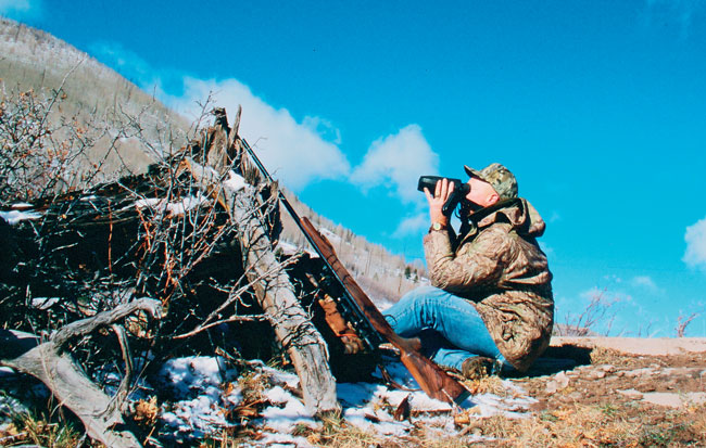 Using Leica's original Geovid, the author spotted and ranged the biggest elk he'd ever seen from this spot. The 500-yard shot was a slightly high miss. He failed to take into account the uphill angle, which becomes a factor at such distance. Many current rangefinders account for angles, but such a feature didn't exist then.