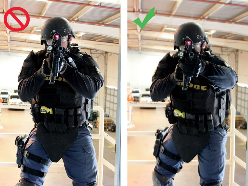 Left: This squared shooting stance presents no added benefit in coverage by body armor. Right: This bladed stance illustrates how much exposure you have when engaging a threat target.