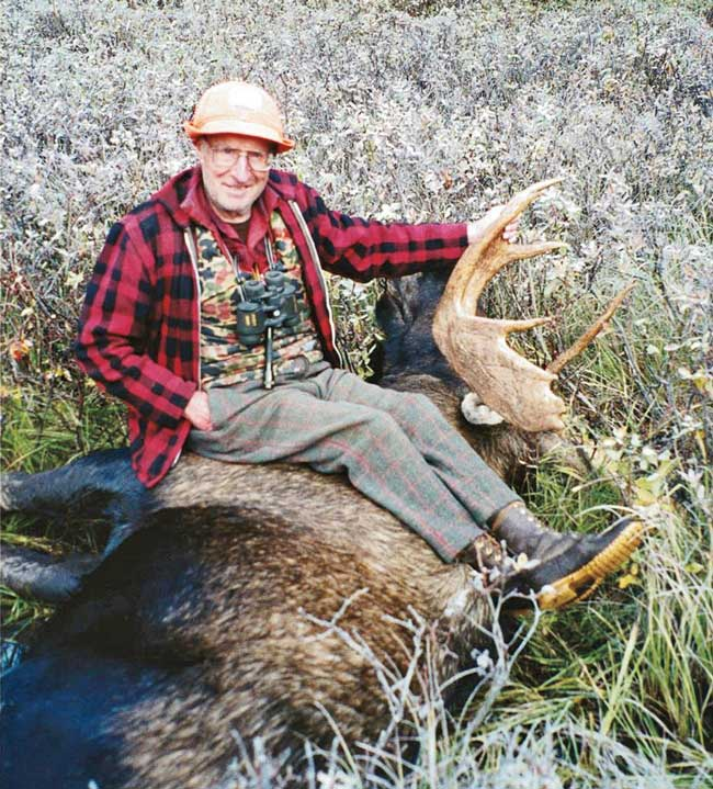 The author's 94-year-old grandfather with his last moose in B.C.
