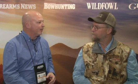 "Jim ""Jimbo"" Ronquest of Rich-n-Tone Duck Calls stopped by the OSG booth to talk for a few minutes to writer Lynn Burkhead about all things duck hunting."