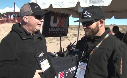 At Industry Day at the Range, Sportsman Channel host Steve Criner of Desert Dog TV showed off the new Umarex .50 Cal Hammer Air Rifle to OSG writer Lynn Burkhead.