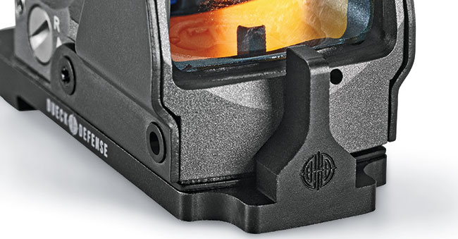 The RBU integrates robust iron sights into the sight base.