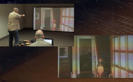 Eric Poole enters the simulator to experience what happens when an intruder is in the entryway of